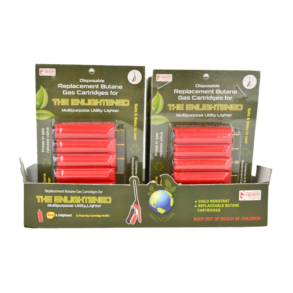 Refill your Gibson Enlightened Lighter the easy way with Enlightened Multipurpose Utility Lighter Refill Cartridges. Instead of bulky butane canisters or replacing single-use lighters, use these refill cartridges to refuel the Enlightened Lighter. These cartridges are lightweight, easy to install, and have an adjustable port for adjusting the lighter flame.