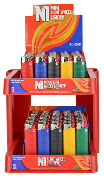 N1 & N1 Mini Cigarette Lighter Two-Tier Tower - Single Display (100 Units Per Display)