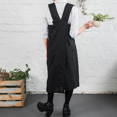 "New! Grembiule in lino ""Pinafore"" - nero / black"