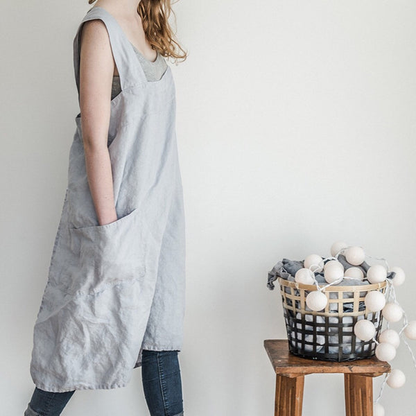 "Re-stock! Grembiule in lino ""Pinafore"" - ghiaccio"