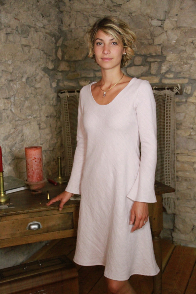 Louise Pagoda Long Sleeve Linen Dress