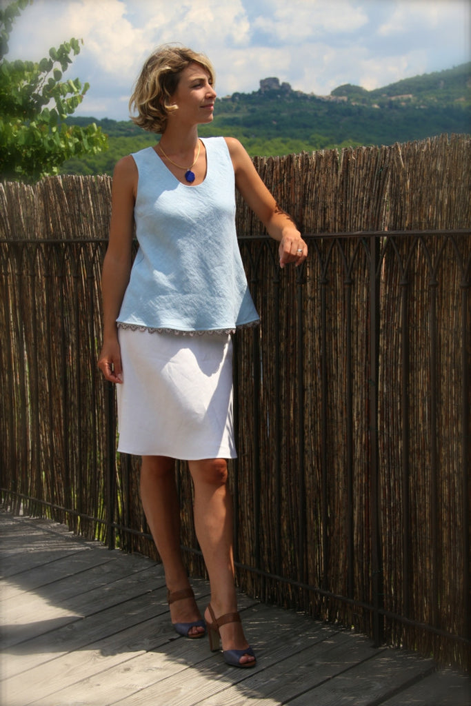 Louise Sleeveless Pearled Edge Linen Top