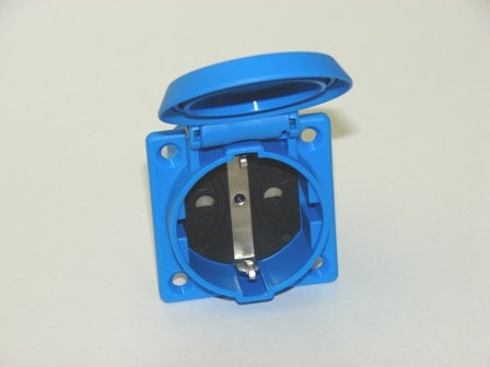 Schuko Socket Outlet Blue ABL 1662050 2P + E 250V flush mounting with shutter IP54