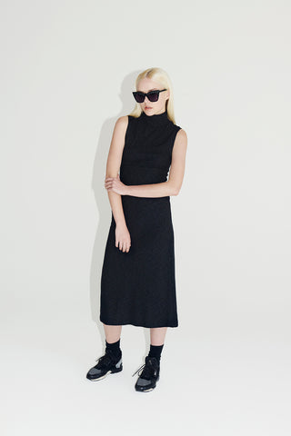 Polo Neck Tank Dress - Black