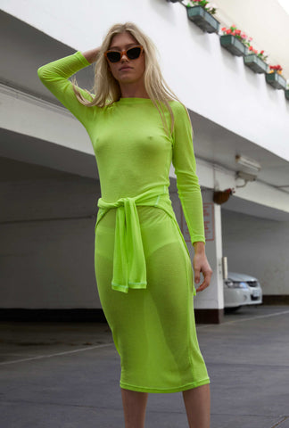 Sheer Knit Dress ~ Neon Lime