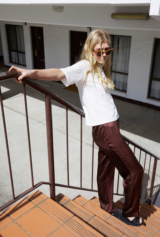 Two-Tone Silk Pant ~ Chocolate