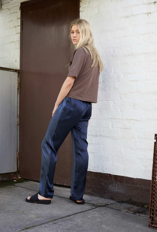 Two-Tone Silk Pant ~ Navy