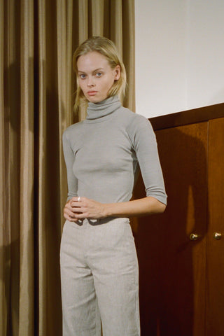 Merino 3/4 Sleeve Turtleneck ~ Oatmeal
