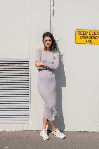 Sheer Knit Dress ~ Light Grey