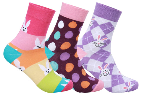 Supersox Women's Crew Length Happy Easter Bunny and Eggs socks Pack of 3