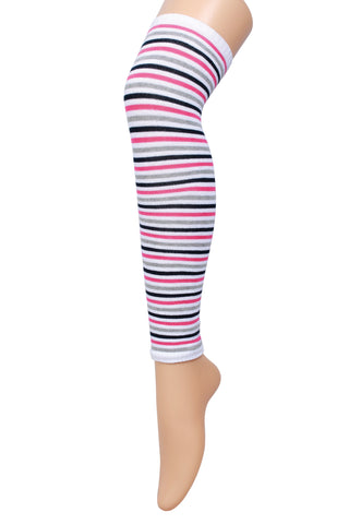Supersox Women's Stripes Leg Warmer 2 Pair Pack (Multi Color Small Stripe)
