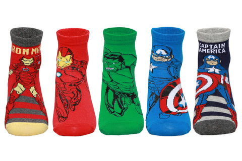 Supersox Disney Avengers Ankle Length Socks Collection for Kids Pack of 5 (Iron Mank, Captain America, Hulk)