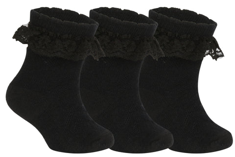 Supersox Babies Combed Cotton Black Colour Frill Socks ( Pack Of 3)