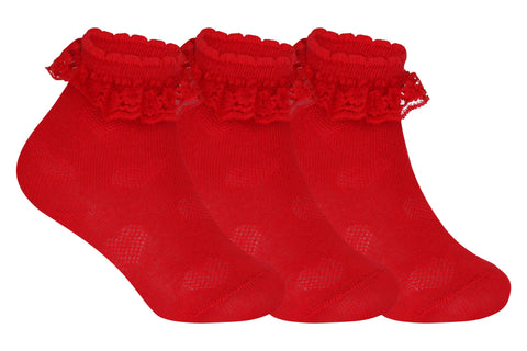 Supersox Babies Combed Cotton Red Colour Frill Socks ( Pack Of 3)