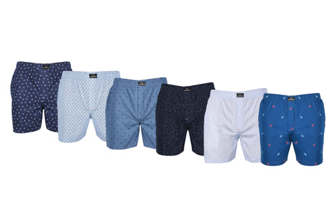 SuperGear Multi Color Pattern Design Two Pockets Boxers For Mens - Pack of 6