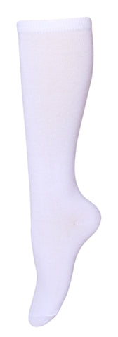 Women's PO5 Combed Cotton Knee Length White Plain Socks
