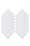 Luxxio Pure White Luxury Mercerized Cotton Handkerchief for Men (Pack of 12 Pcs)