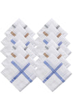 Luxxio White Subtle design Luxury Combed Cotton Handkerchief for Men (Pack of 12 Pcs)