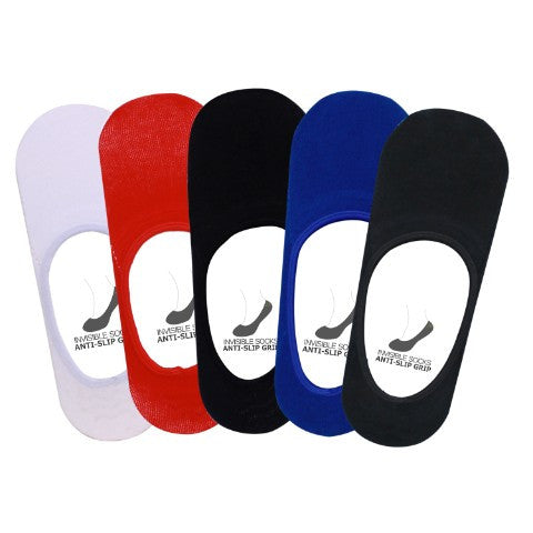 Men's PO5 Anti Slip No Show Plain Socks - Assorted