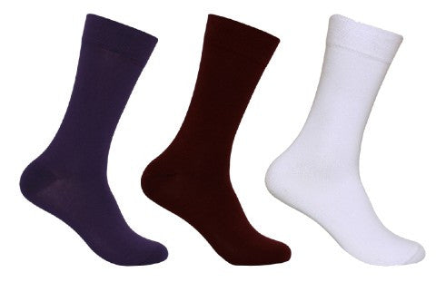 Men's PO3 Combed Cotton Plain Socks - Assorted