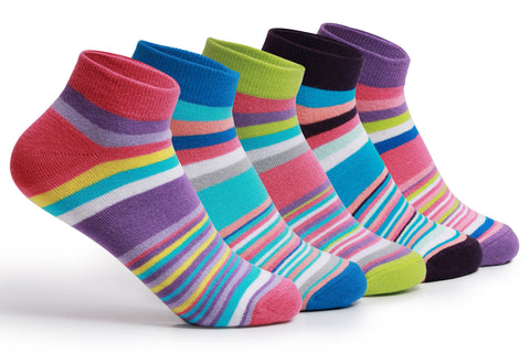 Supersox Womens Combed Cotton Sneaker Length Design Socks Pack Of 5