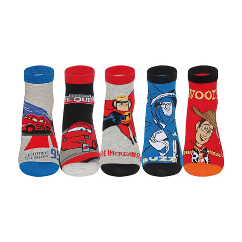Supersox Disney Incredible/ Toys Stories /Cars Character Ankle Length Socks Collection for Kids Pack of 5