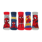 Supersox Disney Spiderman Ankle Length Socks Collection for Kids Pack of 5