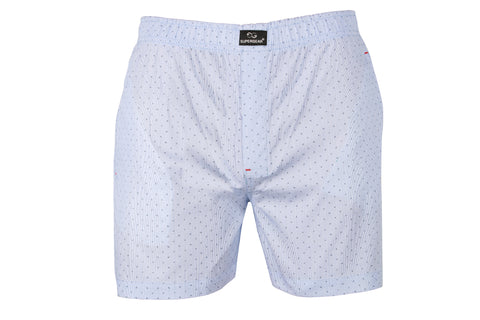 SuperGear White Pattern Design Two Pockets Boxers For Mens - Pack of 1