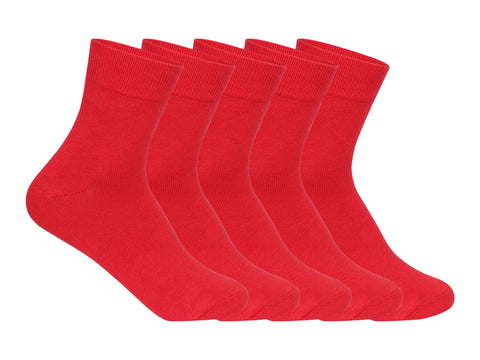 Supersox Kids School Uniform Ankle Length Combed Cotton Red Color Socks Pack Of 5