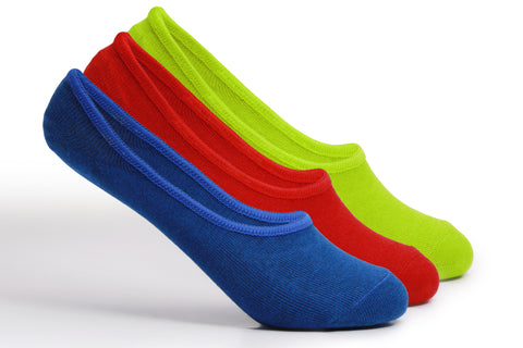 Supersox Unisex Kids Combed Cotton Loafer Anti Slip No Show Socks - Pack of 3