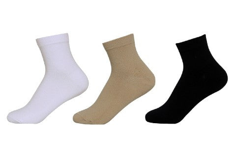Women's PO3 Combed Cotton Ankle Length Plain Socks