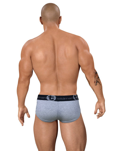 WildmanT Stretch Cotton Big Boy Pouch Brief Gray/Red - Big Penis Underwear, WildmanT - WildmanT