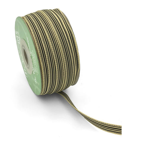 10mm Black & Dark Cream Heritage Humbug Stripe Ribbon - SweetpeaStore