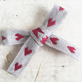 11mm Rustic Red & Natural Cream Linen Woven Heart Ribbon - SweetpeaStore