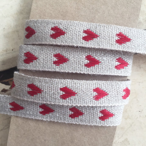 10mm Rustic Red & Natural Cream Linen Woven Heart Ribbon - SweetpeaStore