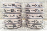 15mm Ivory Printed 'Happy' Birthday Anniversary Age Ribbon - SweetpeaStore