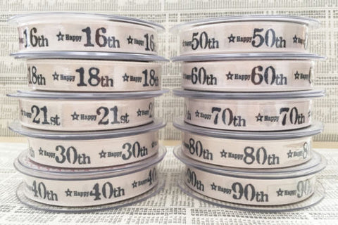 15mm Ivory Printed 'Happy Birthday' Age Ribbon - SweetpeaStore