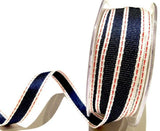 15mm Navy Red and White Stitch Textured Woven Denim Selvedge Ribbon - SweetpeaStore