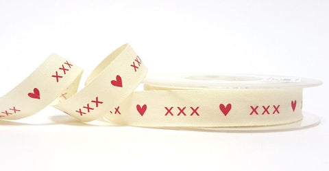 15mm Cream Cotton Ribbon with Red Hearts and Kisses Print - SweetpeaStore