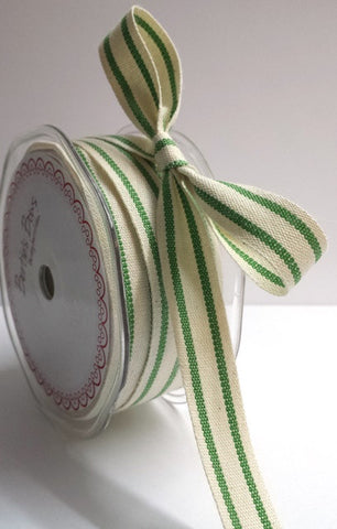 15mm Green & Cream Ticking Stripe Cotton Ribbon - SweetpeaStore