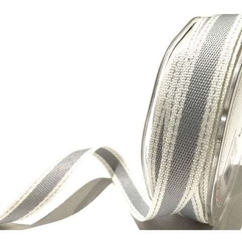 15mm Grey and White Saddle Stitch Woven Stripe Ribbon - SweetpeaStore