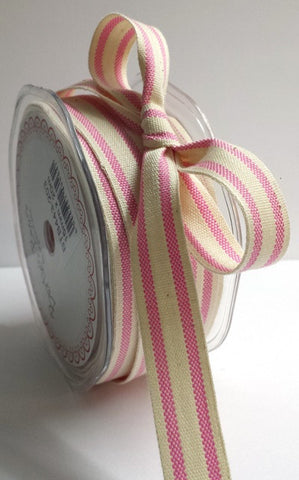 15mm Pink & Cream Ticking Stripe Cotton Ribbon - SweetpeaStore