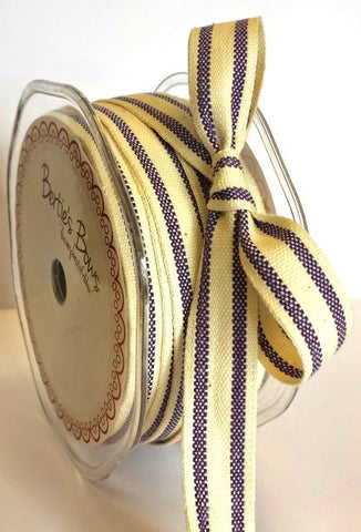 15mm Purple & Cream Ticking Stripe Cotton Ribbon - SweetpeaStore