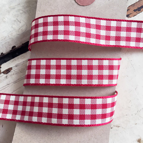 15mm Red & Cream Rustic Gingham Check Polyester Ribbon - SweetpeaStore