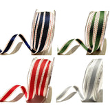 15mm Green White and Red Saddle Stitch Woven Stripe Ribbon - SweetpeaStore