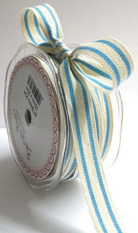 15mm Turquoise Blue & Cream Ticking Stripe Cotton Ribbon - SweetpeaStore