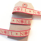15mm Red Noel Snowflake Christmas Print Rustic Hopsack Ribbon - SweetpeaStore