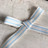15mm Baby Blue and White Vintage Style Ticking Stripe Ribbon - SweetpeaStore