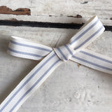 15mm Grey and White Vintage Style Ticking Stripe Ribbon - SweetpeaStore