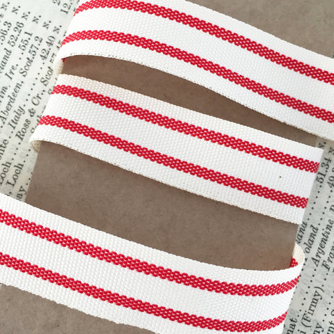 15mm Red & Cream Ticking Stripe Ribbon - SweetpeaStore